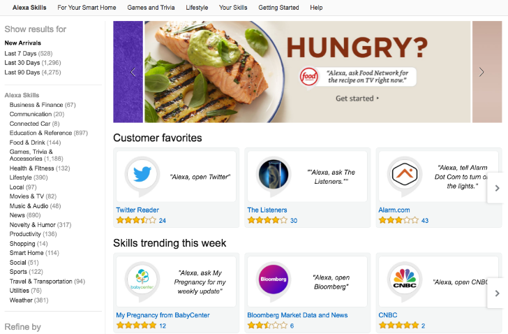 Alexa skills get full Amazon com pages with direct links and