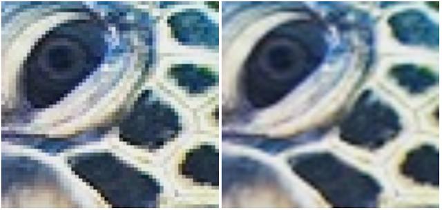 Left: Original image, Right: Bicubic upsampled version