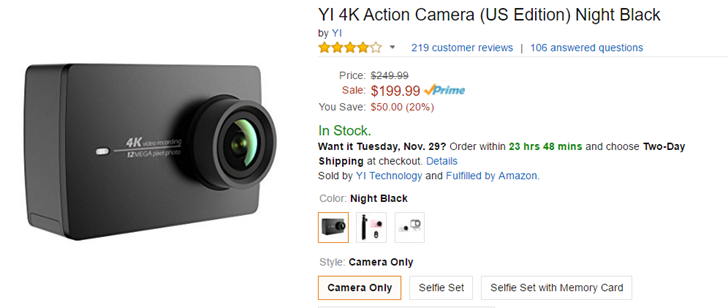 Deal Alert The Yi 4k Action Camera Is 50 Off 200 At