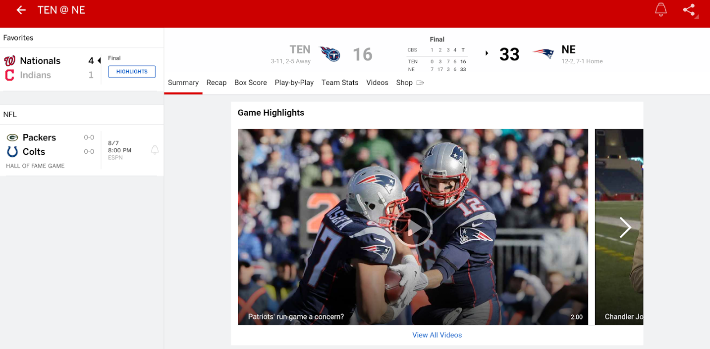 ESPN app updated with live streaming, Chromecast support