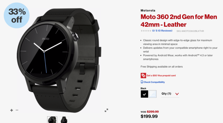 Deal Alert Get a 42mm Moto 360 2nd Gen with a 50 Visa prepaid