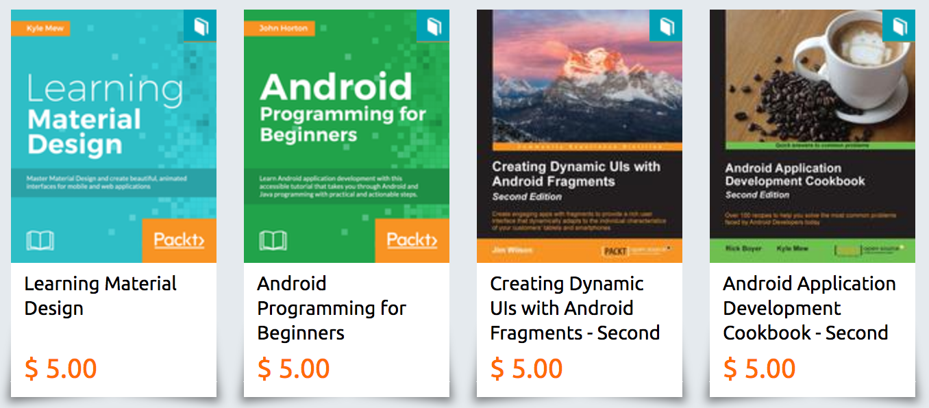 [Deal Alert] Packt is offering all of its eBooks, including Android development-related ones, for $5
