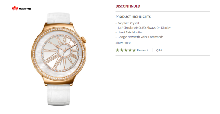 Women's model of Huawei Watch is being discontinued