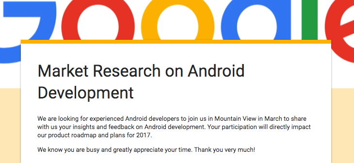 Google Wants Experienced Developers to Go to Mountain View and Give Feedback on Android