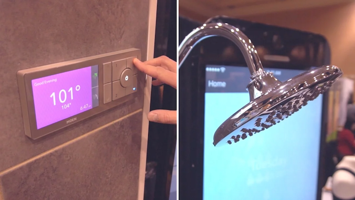 The U by Moen is the first WiFi-connected shower, complete with precise temperature control, timers, and an app