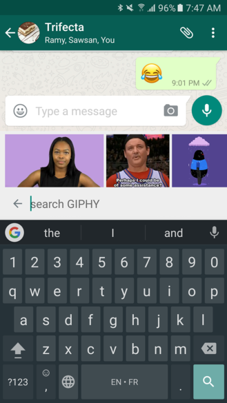 whatsapp GIPHY search