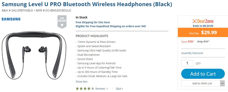 Deal Alert Samsung Level U Pro Bluetooth Headphones On Sale For 29 99 70 Off At B H