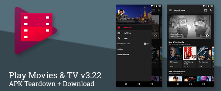 Play Movies & TV v3 22 switches to a dark theme and prepares