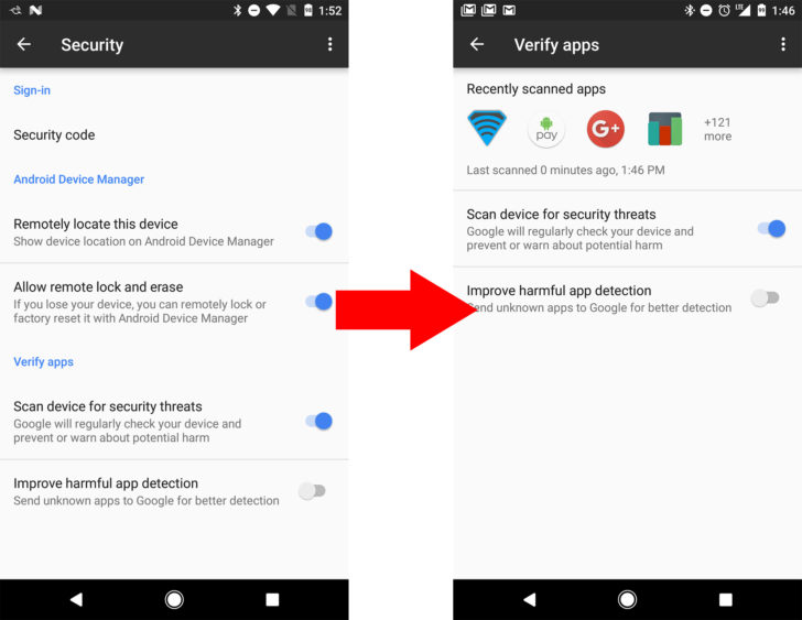 Google's Verify Apps Now Shows Apps that it has Recently Scanned