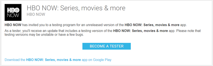 HBO NOW streaming app gets an official Play Store beta version
