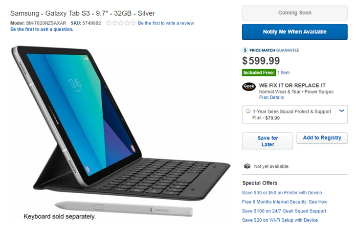 As Expected The Galaxy Tab S3 Will Cost Around 600 In The Us According To Best