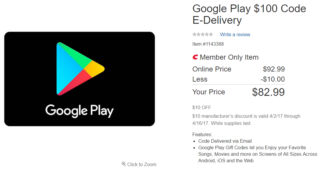 Deal Alert] Costco is offering $50 Google Play gift cards as low as