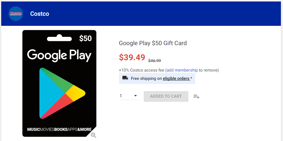 Deal Alert] Costco is offering $50 Google Play gift cards as low ...