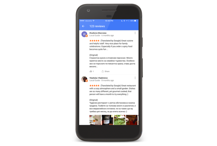 Google Maps now automatically translates reviews to your language