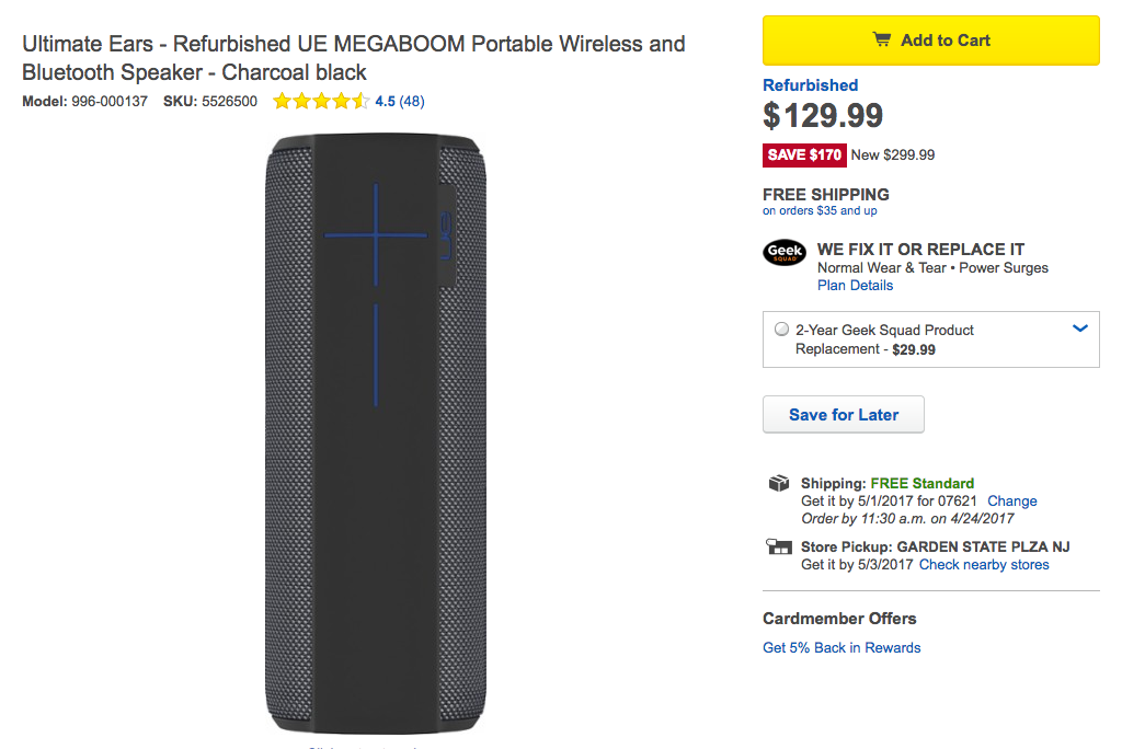 Deal Alert] Get a refurbished UE MEGABOOM for just $129 99 at Best