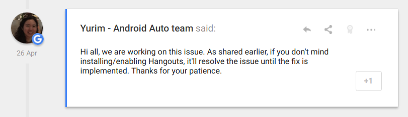 Replying to messages in Android Auto is broken if Hangouts