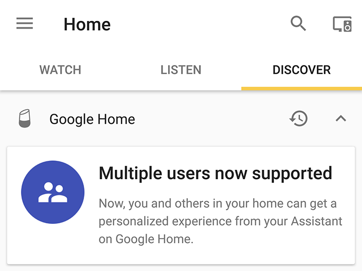 Multiple user support card shows up for some Google Home users