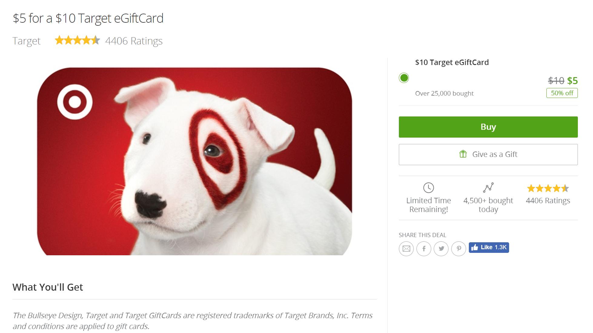Deal Alert] Get a $10 Target eGiftCard for $5 (for eligible ...