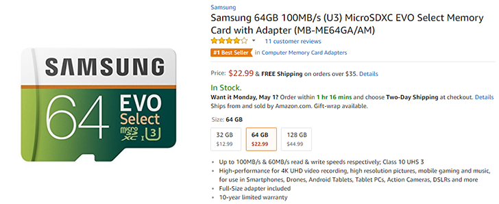 Samsung's EVO Select microSD cards are crazy fast and crazy cheap