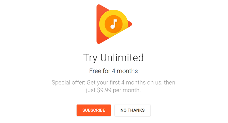 4 free months google play music hero