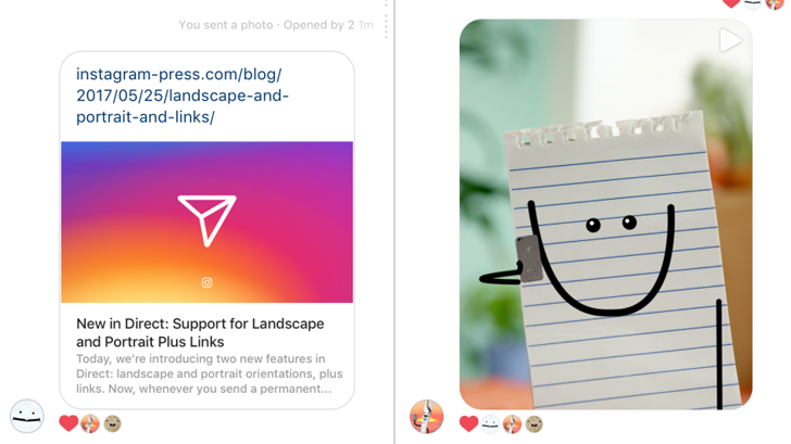 Instagram Direct now supports links