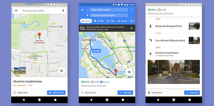Google Maps gains Street View images for directions and a bottom bar on