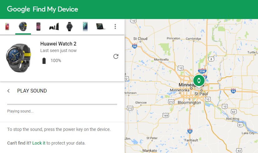 Reminder: You can find your Android Wear watch from your