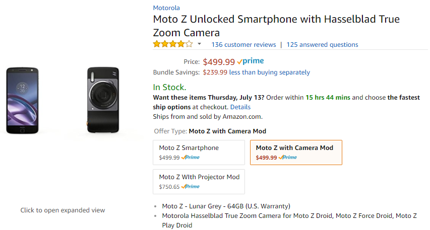 Deal Alert] Get an Unlocked Moto Z with Hasselblad camera mod for