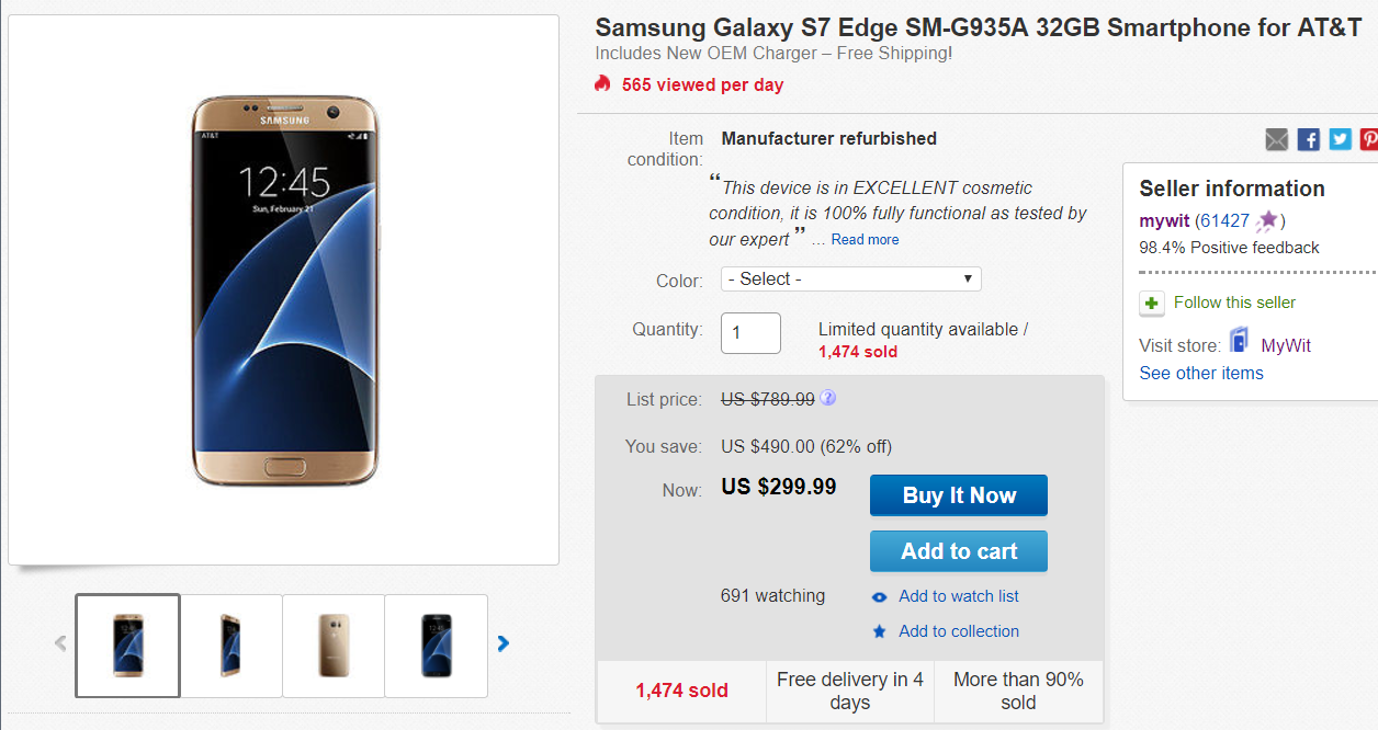 Deal Alert Manufacturer Refurbished Att Samsung Galaxy S7 Edge