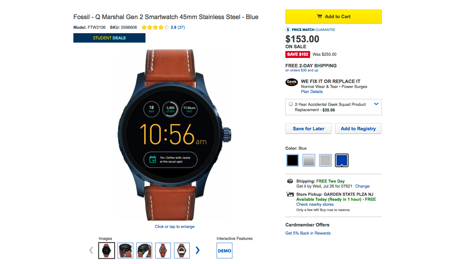 Deal Alert Best Buy Has 2nd Gen Fossil Q Marshal Wander And Fossils Watches Pack Decent Hardware But The Slightly Too High Prices Are Causing People To Turn Away Go For More Mainstream Options