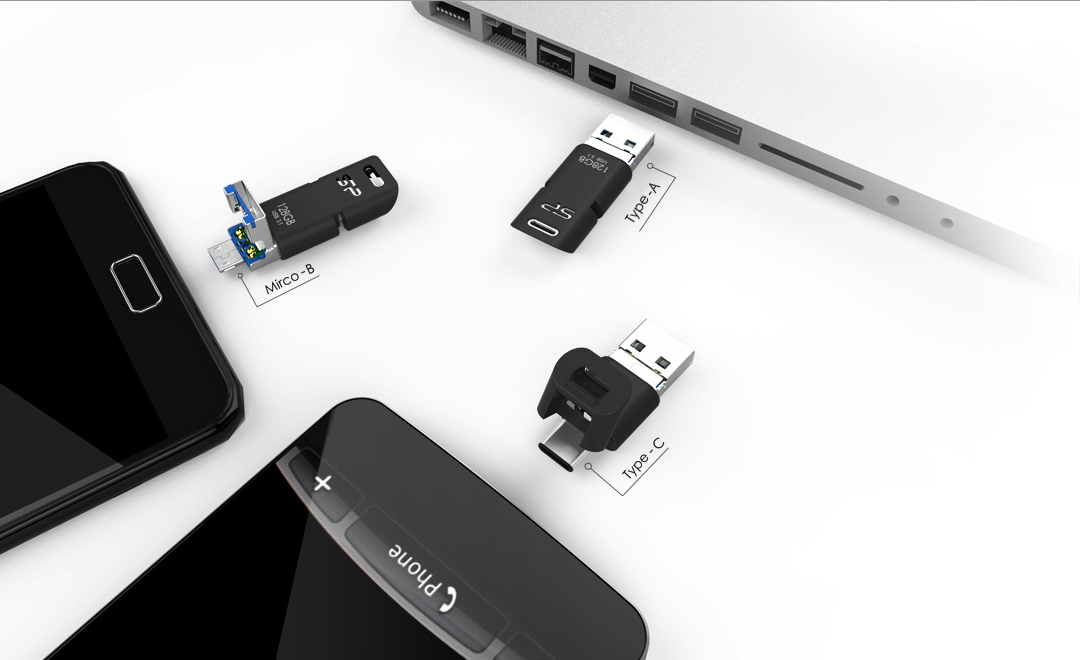 This all-in-one flash drive supports USB-A, USB-C, and Micro USB