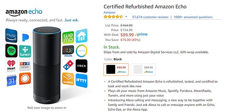 Deal Alert Get A Refurbished Echo Speaker For 89 99 75 Off On Amazon