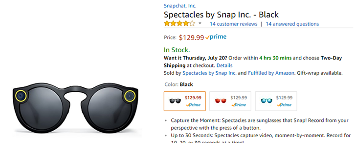 63b1608531 Snap Inc s  Spectacles  can now be purchased from Amazon for  129.99