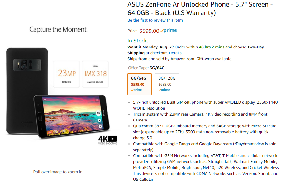 The unlocked Asus ZenFone AR is now available on Amazon ...