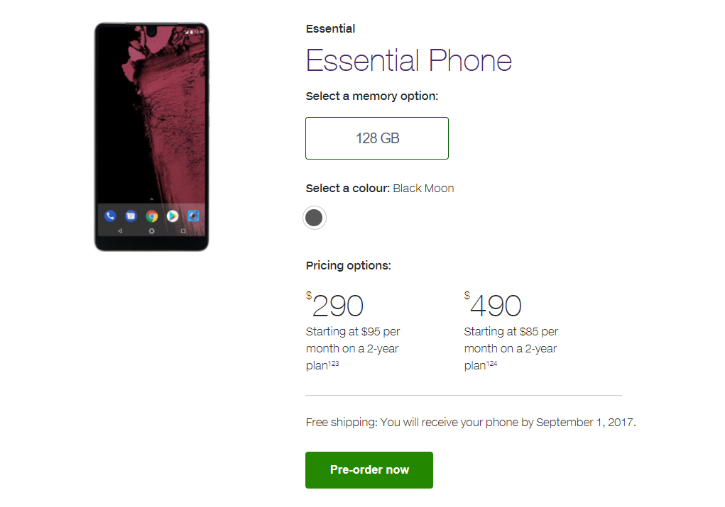 Essential Phone now available, device to receive monthly updates