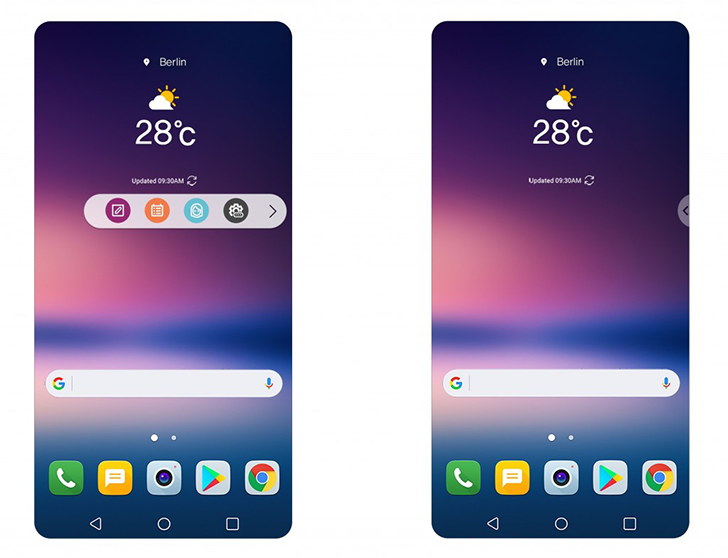 LG V30 has a Floting Bar, that replaces the Second Screen