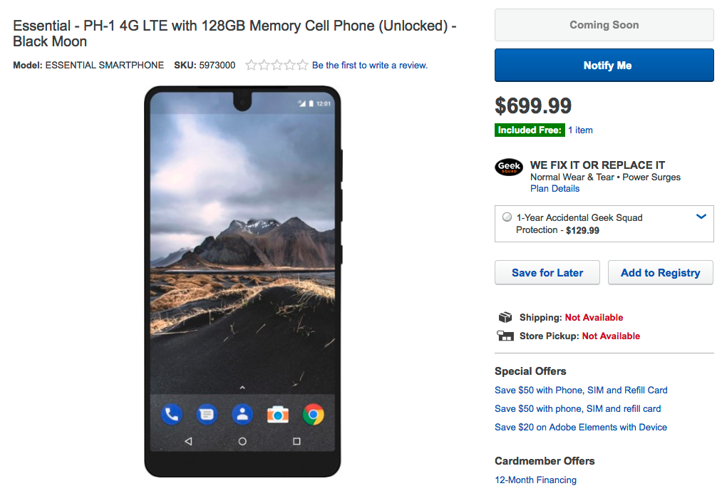 Essential Phone moves closer to availability with Best Buy listing
