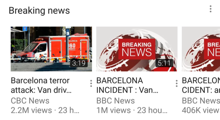 YouTube introduces users to Breaking News
