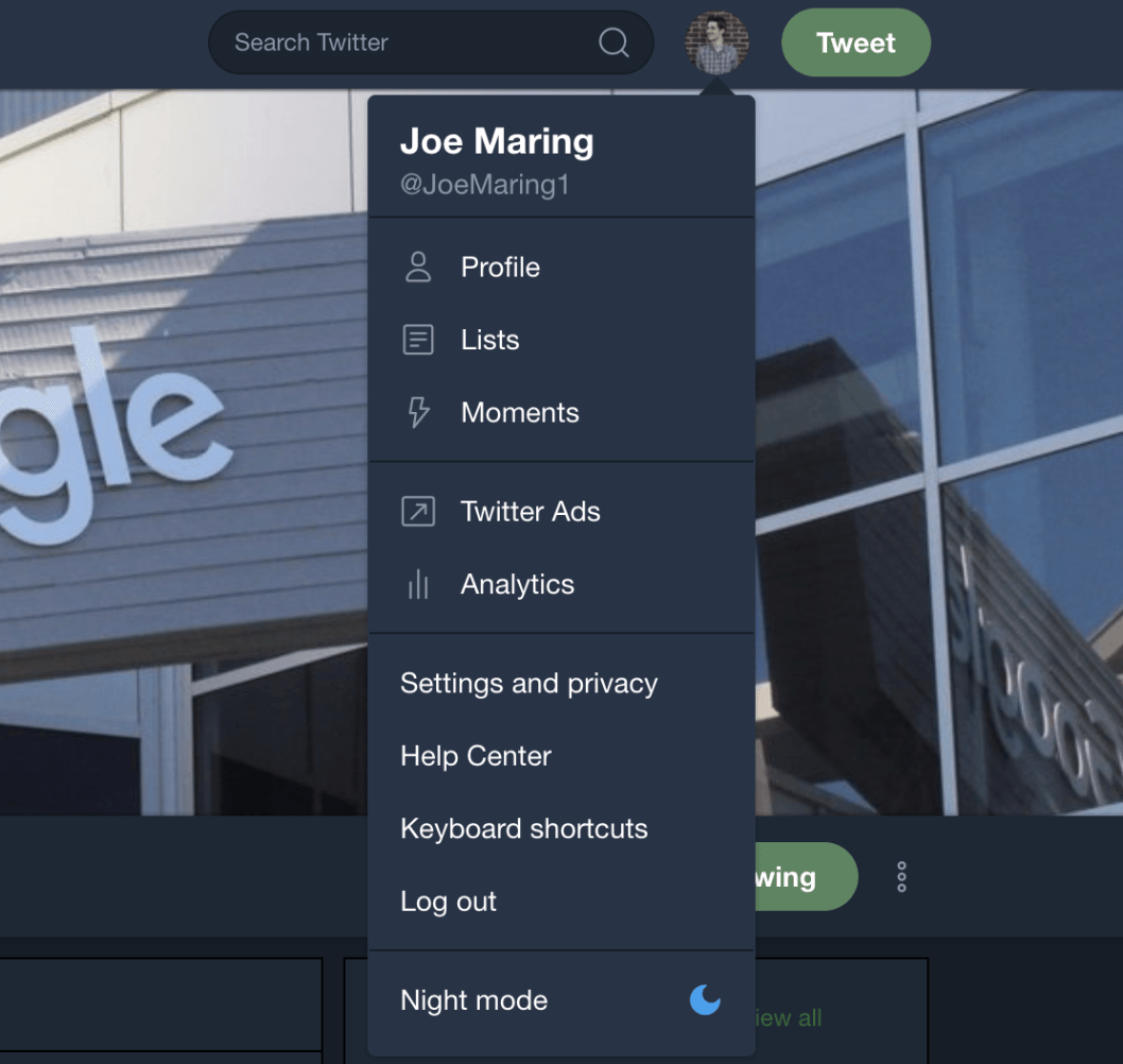 Update: Live] Twitter is readying a night mode for the