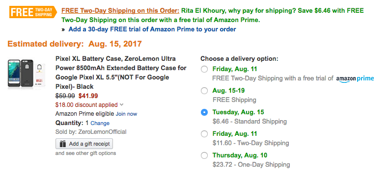 amazon prime one day shipping code