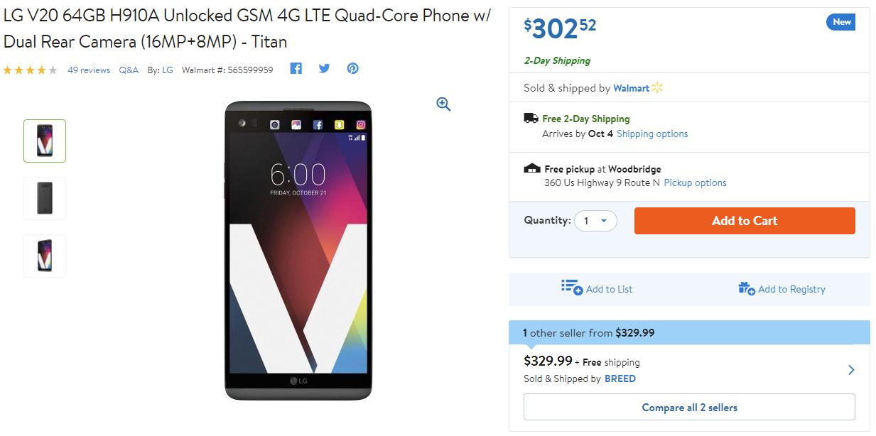 Deal Alert] Unlocked LG V20 on sale for $302 52 at Walmart