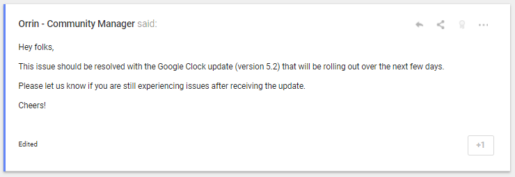 Update: Fixed in V5 2] Some users are reporting Google Clock alarm