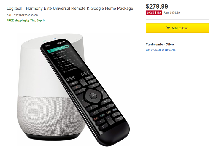 Deal Alert] Logitech Harmony Elite + Google Home for $279 99
