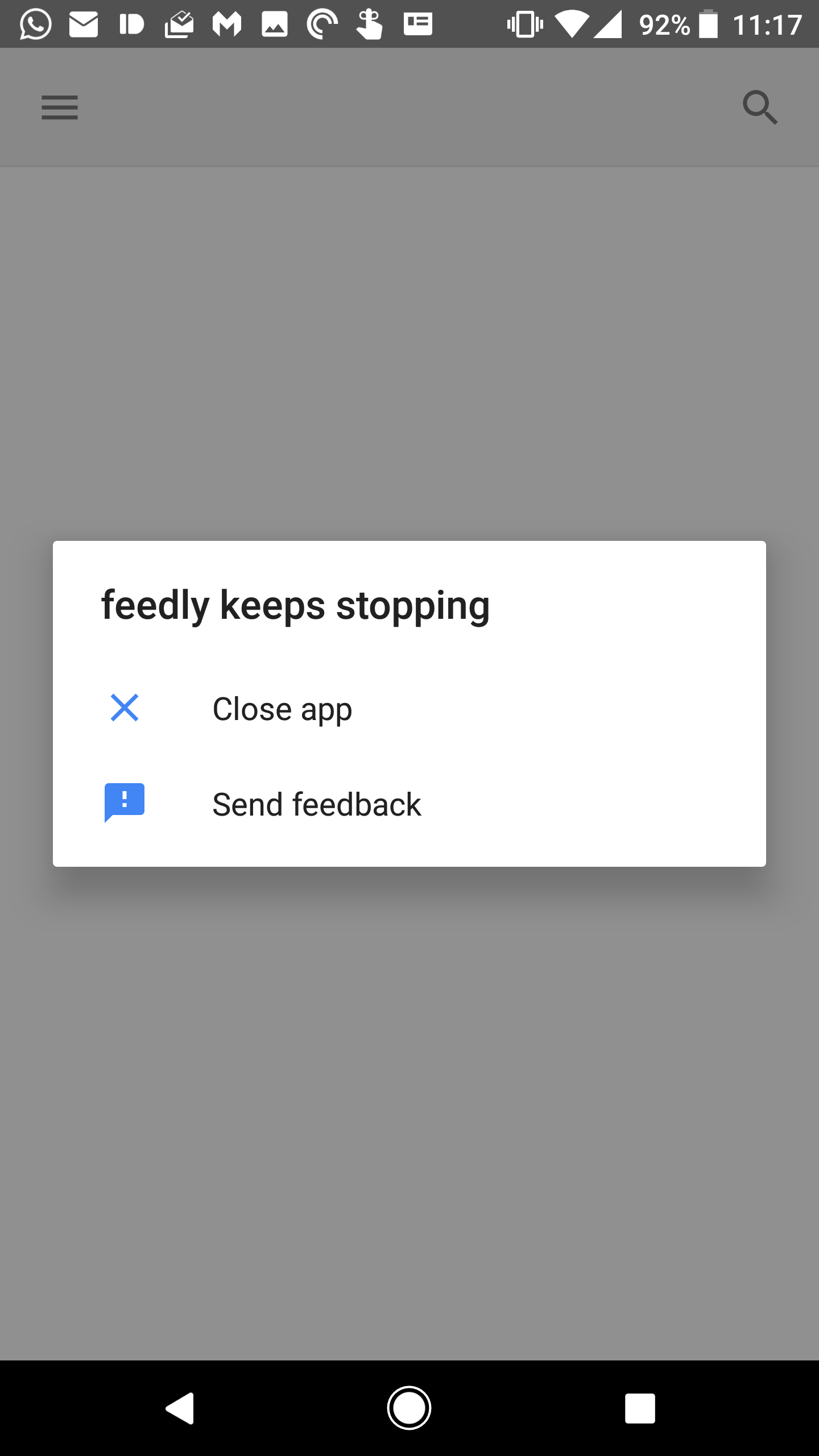 Feedly reader has a crash bug issue, but the latest update