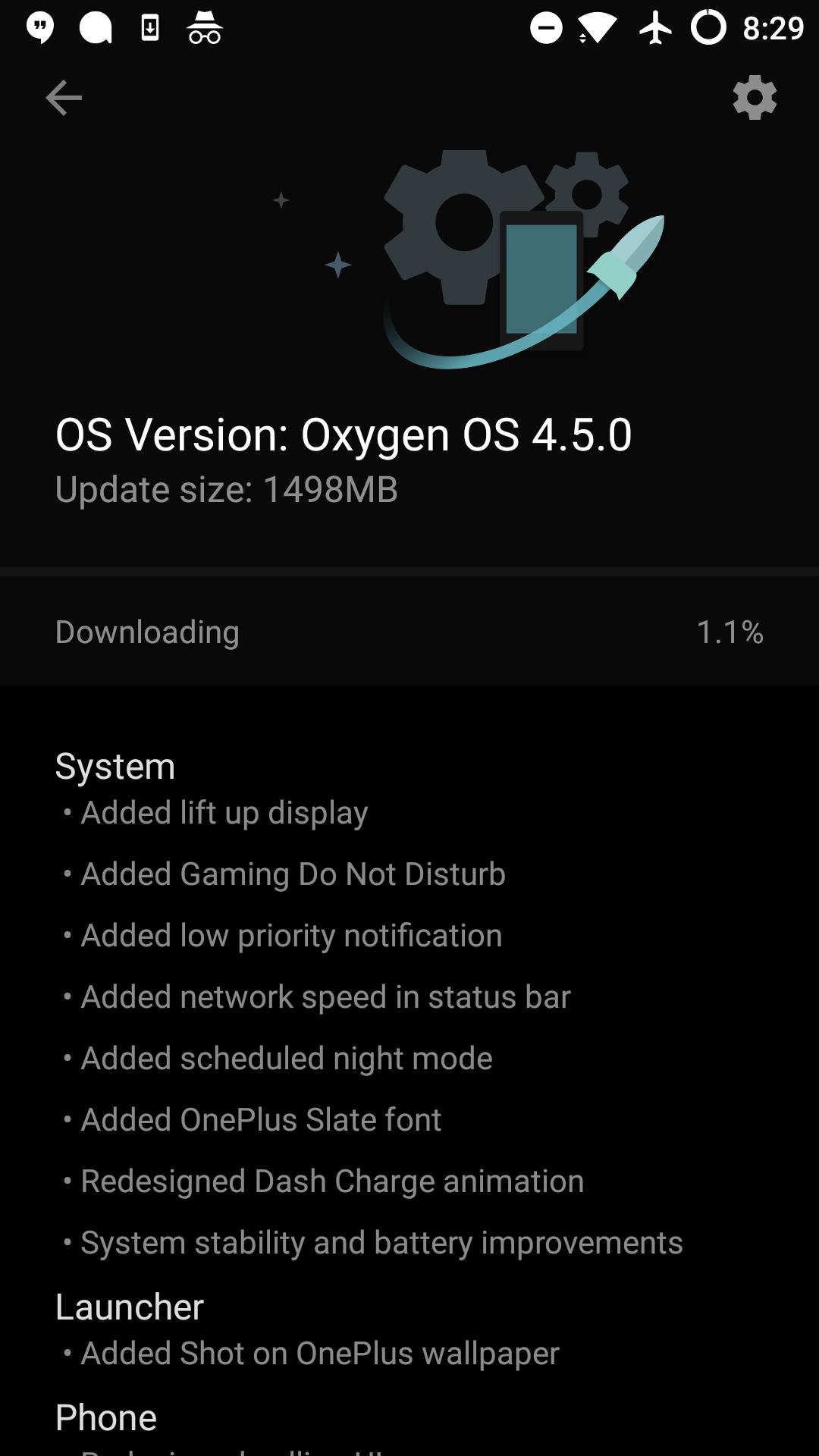 the ota update is hitting devices now and its 197mb in size if you root or have a need to download the full image its closer to 1 5gb