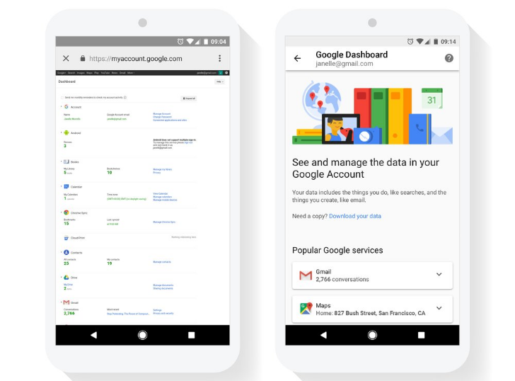 Google Dashboard will soon work better on mobile devices