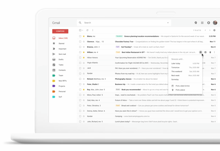 [Update: New, clearer screenshots] Gmail is getting a new web UI with snooze, smart replies, and more in Early Adopter Program