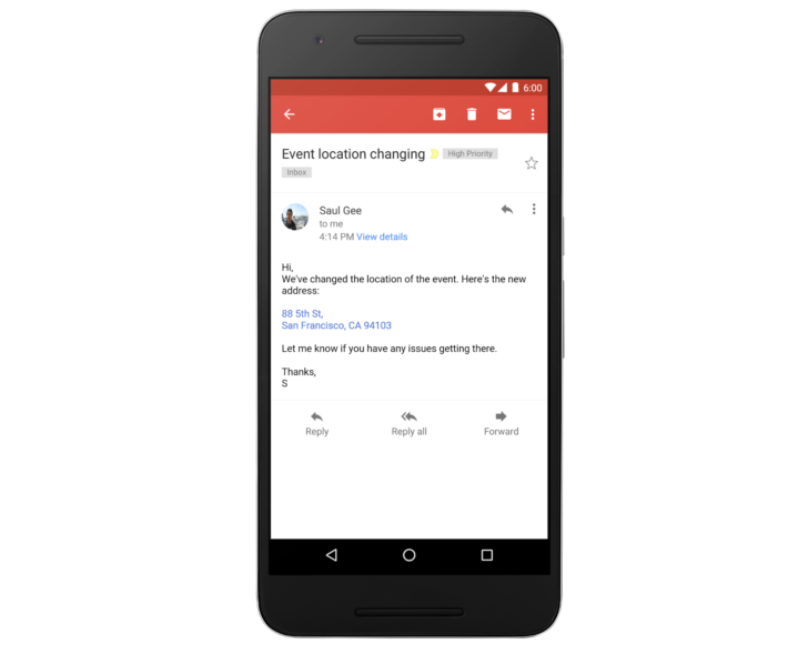 Gmail app converts phone numbers and addresses to links