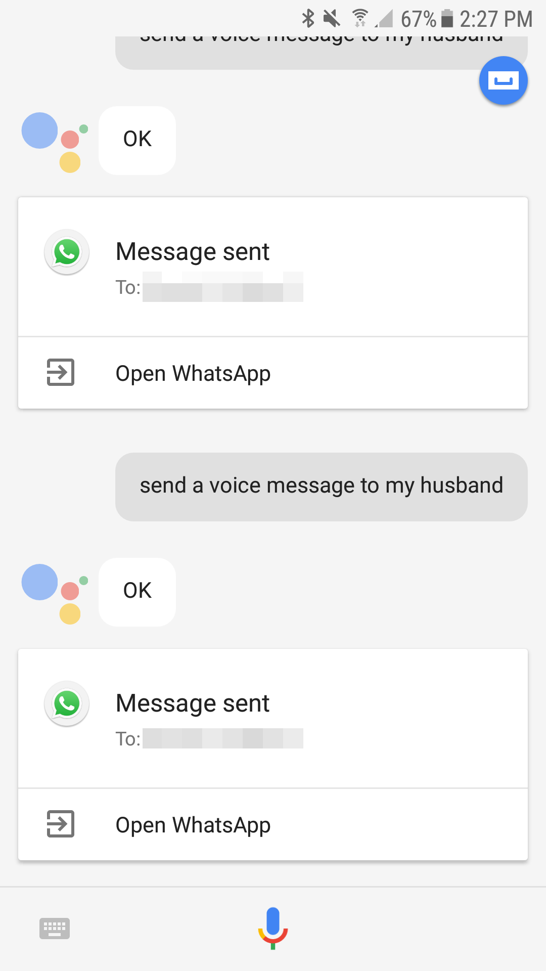 Neat Ok Google Send Voice Message Records And Sends Whatsapp