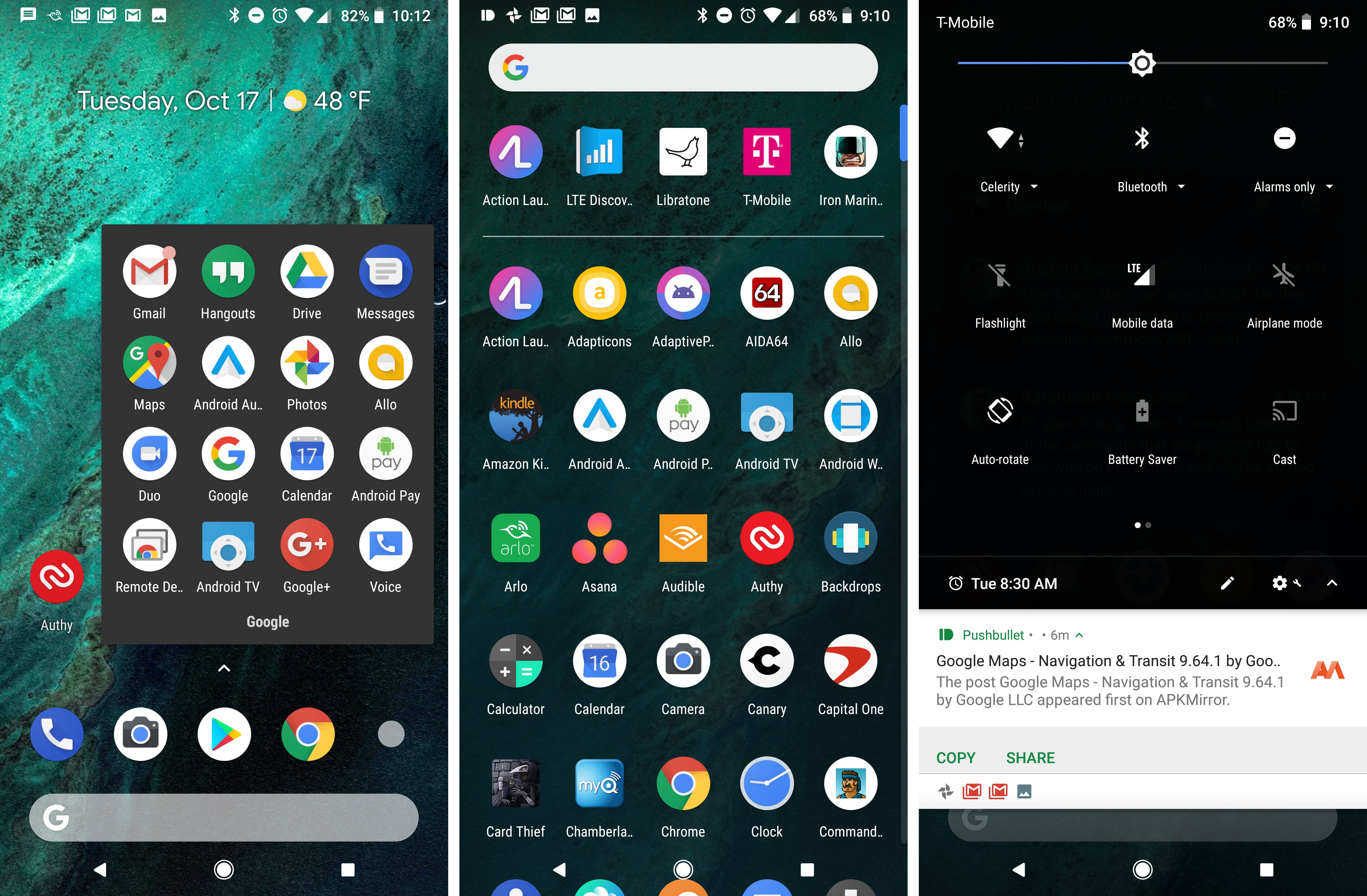 The Pixel Launcher On Pixel 2 Has Automatic Dark And Light Themes